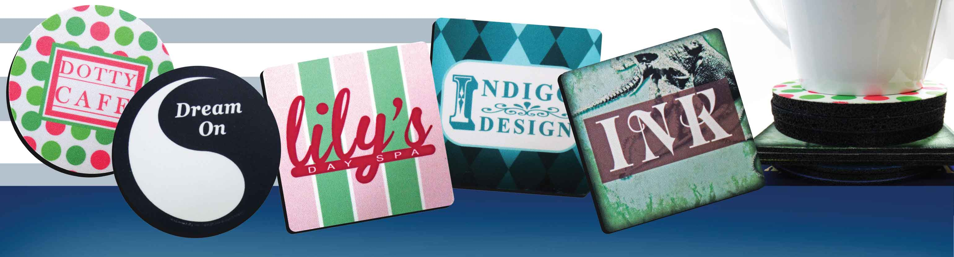 Drink coasters custom printed full color category header